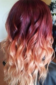 Red Violet Peach Ombre Hair