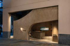 Aesop: Greenbelt on Behance Contemporary Interior Design, Office Interior Design, Office Interiors, Shop Front Design, Store Design, Retail Facade, Facade Lighting, Retail Interior, Facade Design
