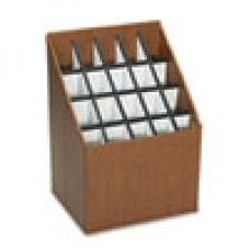 Desk Supplies>Desk Set / Conference Room Set>Holders> Files & Letter holders: Corrugated Roll Files, 20 Compartments, 15w x 12d x 22h, Woodgrain