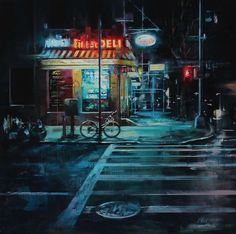 'City Streets' is a gorgeous series of illustrated streetscapes by Lindsey Kustusch, an oil painter based in the San Francisco Bay Area. Street Painting, City Painting, Oil Painting Abstract, Painting Art, City Art, Nocturne, Jackson Pollock Art, Abstract City, Cityscape Art