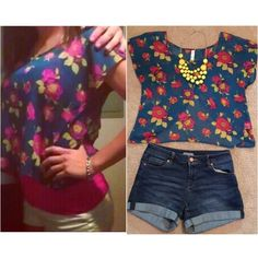 Sexy open-back sheer floral top Super cute royal blue open-back crop top! This top is very flowy and very sheer with yellow and pink flowers. Great condition and very flattering! Looks great on! Xhilaration Tops Crop Tops