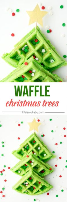A really fun Christmas Breakfast Idea for Kids! Make these fun and easy Christmas Tree Waffles.
