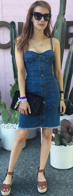 Who made  Emma Roberts' denim sweetheart dress, sunglasses, brown sandals?