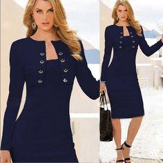 Купить товарГорячая распродажа сексуальная Bodycon карандаш женщины одеваются синий миди платье для офисной леди CG CA F29 в категории Платьяна AliExpress.                          Оплаты                            Мы обычно принимаем оплату через Visa,  MasterCard,  Western