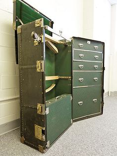 "41"" VTG HARTMANN STEAMER WARDROBE TRUNK CUSHION TOP GIBRALTARIZED VTG RARE A+! Wish I could afford this!"