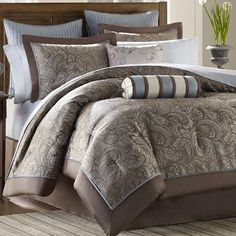 JLA Home Aubrey 12-Piece Queen Comforter Set | Nebraska Furniture Mart $159.99. SKU: 37672565 UPC: 675716319946. Set includes one comforter, two shams, bedskirt, two euro shams, fitted sheet, flat sheet, two pillowcases and two decorative pillows. http://www.nfm.com/DetailsPage.aspx?productid=37672565&cm_sp=B_Sales-_-TopBanner-_-ShopTopRatedBeddingSetsBanner