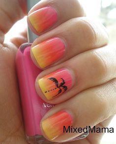MixedMama: Tropical Sunset Nails - I don't care how tacky it may be - I like it! Fancy Nails, Love Nails, Diy Nails, Pretty Nails, Neon Nails, Gradient Nails, Diy Beach Nails, Summer Beach Nails, Nail Art Orange