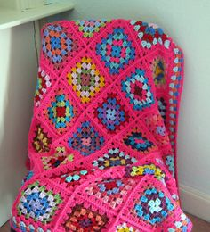 Check out this item in my Etsy shop https://www.etsy.com/uk/listing/81148253/granny-squares-pink-crochet-blanket