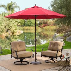 Sunbrella 9 Ft Patio Umbrella With Deluxe Tilt In Antique Bronze Red Shade