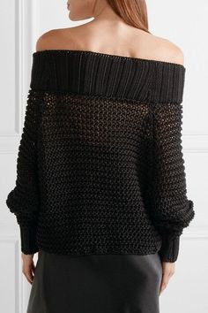 Calvin Klein Collection - Ebner Off-the-shoulder Cable-knit Cotton Sweater - Black - x small