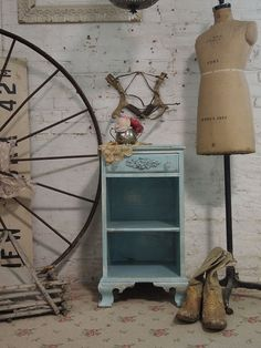 Painted Cottage Chic Shabby Aqua French by paintedcottages on Etsy, $120.00
