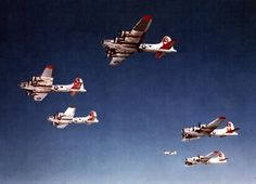 Boeing B-17s of the 8th Air Force in practice formation over England.