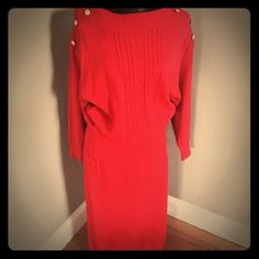 Sensational vintage knit dress This is just the coolest dress ever! Will fit a medium also probably… Open bust, length 52 inches, elastic waist 30–38 inches. Great condition! Vintage Dresses Maxi