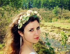 Peach rose flower crown bridal hair floral by gardensofwhimsy, $50.00