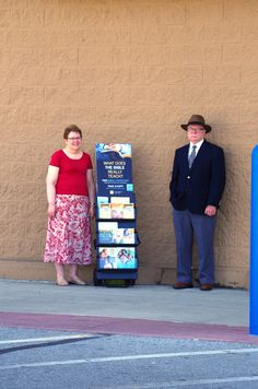 Public witnessing outside a huge discount superstore in the small town of Franklin, Indiana