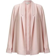 Miss Selfridge PREMIUM Blazer Duster Jacket (330 AED) ❤ liked on Polyvore featuring outerwear, jackets, nude, lightweight blazer, long sleeve blazer, miss selfridge, lightweight summer jacket and pink blazer