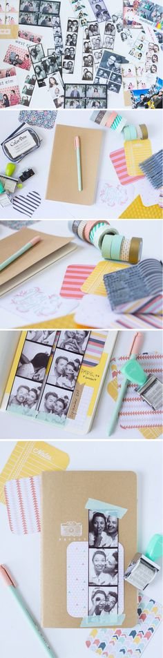 DIY Washi Tape Scrapbooking Projects | DIY Photobooth Strip Scrapbook by DIY Ready at https://diyready.com/100-creative-ways-to-use-washi-tape/                                                                                                                                                      Plus