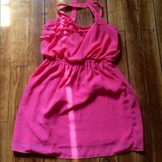 Large coral pink flowy dress Cross straps Dresses