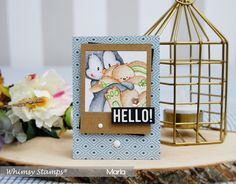 Hello everyone,   I hope you have a relaxed Sunday . I have a new card to share. using a beautiful and adorable stamp from Whimsy Stamps ....