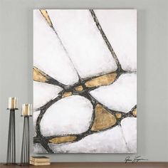 Abstract Art In Gold And Black | Modern Art by Uttermost at Contemporary Modern Furniture Warehouse - 2