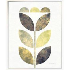 "East Urban Home 'Golden Flower I' Graphic Art Print Format: Wrapped Canvas, Matte Color: No Matte, Size: 35"" H x 28"" W"