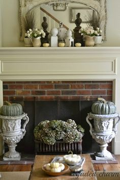 Faded Charm: ~Fall Mantel~ love the green gourds in the urns.