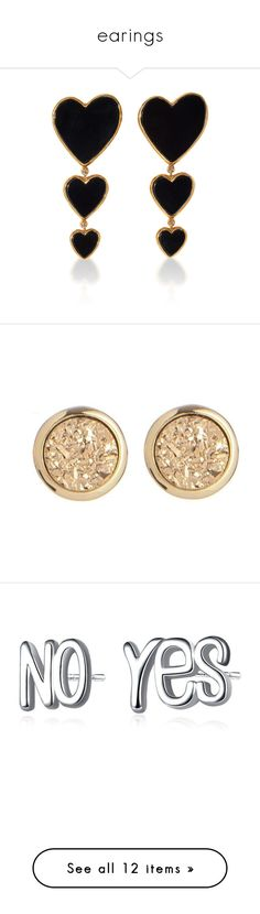 """""""earings"""" by arianak16 ❤ liked on Polyvore featuring jewelry, earrings, black, heart shaped jewelry, heart shaped earrings, heart jewellery, earring jewelry, heart jewelry, drusy earrings and gold plated jewelry"""