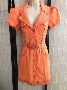 Bebe Dress Size Small Orange Safari Button Up Summer Spring With Belt Vegas Sexy   eBay