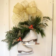 Winter Ice Skates Front Door or Fireplace Mantel by DesignWise4