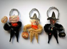 Set of Halloween ornaments designed by me, Stephanie Baker of Old World Primitives. They are made of chenille and vintage Halloween images printed on card stock. Vintage Halloween Images, Vintage Halloween Decorations, Halloween Ornaments, Paper Ornaments, Halloween Trees, Scream Halloween, Halloween Boo, Halloween Crafts, Halloween History