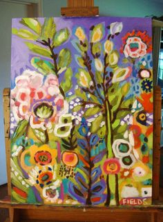 Large Original Abstract Folk Flowers Wall Painting 18 x 24 by Karen Fields