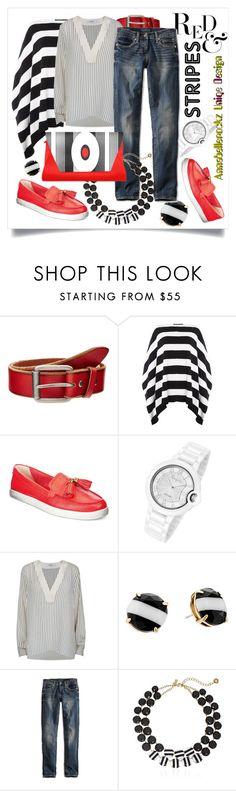 """Red&Stripes Clutch"" by capricat ❤ liked on Polyvore featuring Bill Adler, Lauren Ralph Lauren, Michael Kors, Gestuz, Kate Spade and Lucky Brand"