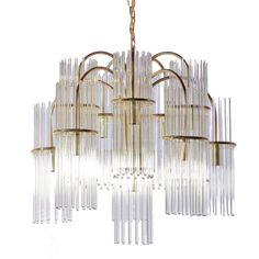 1stdibs.com | Gaetano Sciolari for Lightolier Glass Rod and Brass Chandelier
