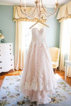 Light Pink Sweetheart Wedding Gown,Tulle Beach Wedding Dress,Lace Appliqued Bridal Dress The wedding dress is so charming and elegant. It can be made with custom sizes and color. Hanging Wedding Dress, Wedding Robe, Pink Wedding Gowns, Blush Pink Wedding Dress, Wedding Dress Types, Blush Pink Weddings, Princess Wedding Dresses, Tulle Wedding, Bridal Dresses