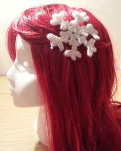Hand Knitted Snowflake Hair Clip £4.00