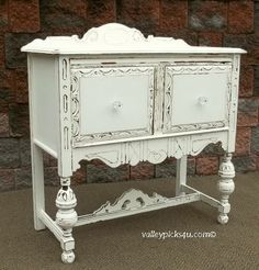 OMG CHIC Shabby White Server Kitchen Cupboard Bathroom Cabinet TV Stand Table. $675.00, via Etsy. Distressed Furniture, Repurposed Furniture, Shabby Chic Furniture, Vintage Furniture, Painted Furniture, Vintage Shabby Chic, Shabby Chic Decor, Furniture Restoration, Kitchen Cupboards