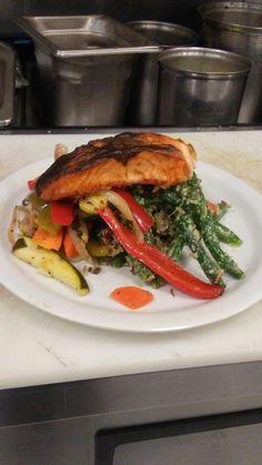 Dijon mustard crusted salmon and asparagus w/roasted veggies