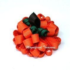 Pumpkin Loopy Puff Bow Big or Itty Bitty Size by Magnificence