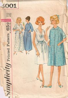 5001 Simplicity Misses Women nightgown robe has round by Demi
