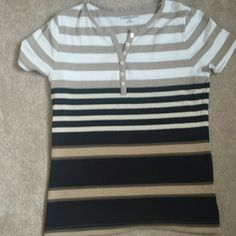 Really cute top button up short sleeved Shirt colors black/cream stripes top white/cream stripes never worn crofts&barrow Tops Tees - Short Sleeve