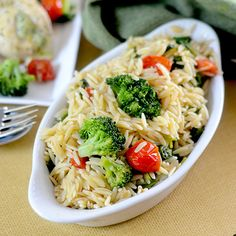 Broccoli Orzo with Barber Chicken from Feed Your Soul Too