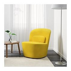 IKEA - STOCKHOLM, Swivel easy chair, Sandbacka yellow, , This chair is made from moulded high resilience foam that provides comfort and support – and keeps its shape for years.Velvet is a soft, luxurious fabric that is resistant to abrasion and easy to clean using the soft brush attachment on your vacuum.10 year guarantee. Read about the terms in the guarantee brochure.