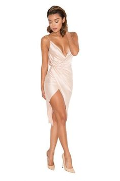 Nude satin and gorgeous draped silhouettes combine with our amazing 'Coco' nude satin wrap dress. Grad Dresses, Satin Dresses, Silk Dress, Sexy Dresses, Cute Dresses, Dress Outfits, Casual Dresses, Short Dresses, Gowns