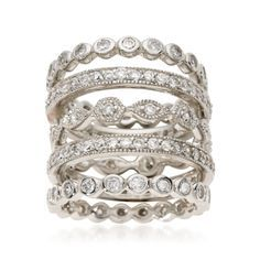 Ross-Simons - Set of Five 2.80 ct. t.w. CZ Eternity Bands in Sterling Silver - #460845