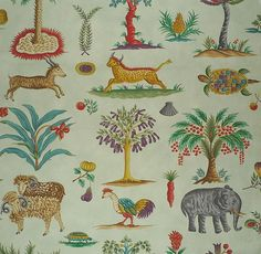 CLARENCE HOUSE Les Indes Celadon Animals Cotton Italy Remnant New