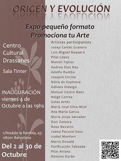 """Isabel Monfort. Exposición colectiva en c. Cultural Drassanes en Barcelona. """"Origen y evolución"""" Del 4 al 30 de Octubre 2013, en la cual participó con el colectivo """" Promociona tu arte"""""""
