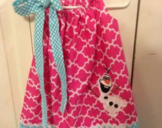 Disney Inspired Olaf from Frozen Applique Pillowcase Dress