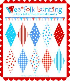 mini bunting printable--nice to have the template if I wanted  this to be in different colors