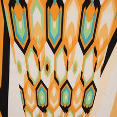 Italian Orange/Green Abstract Geometric Printed Cotton Batiste