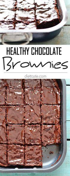 Healthy Chocolate Brownies - with oat flour, (vegan or dairy) Greek yogurt, dark brown sugar and vegan chocolate ganache - diettaste.com